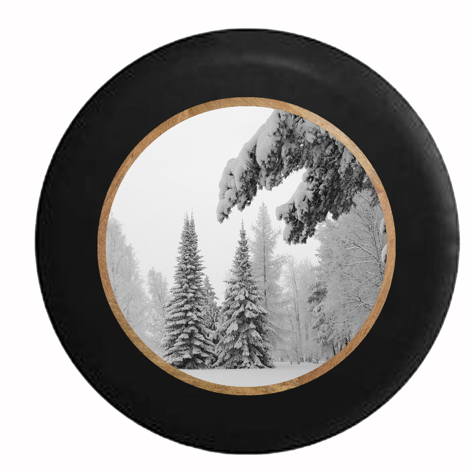 Winter Wonderland Snow Covered Pines  Jeep RV Camper Spare Tire Cover Black 29 in