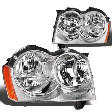 For 2005 to 2007 Jeep Grand Cherokee Headlight Chrome Housing Amber Corner Headlamp 06 WK