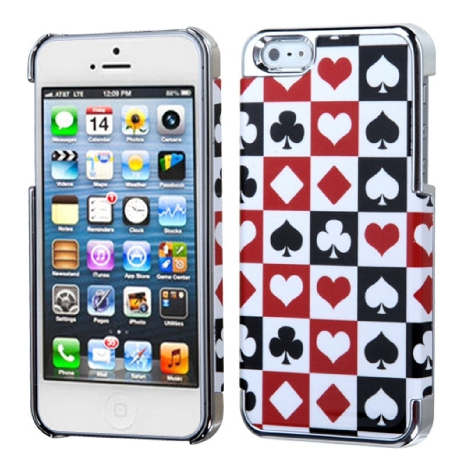 Insten Rubberized Poker Card Suits Plating MyDual Hard Case For iPhone SE 5 5G 5th
