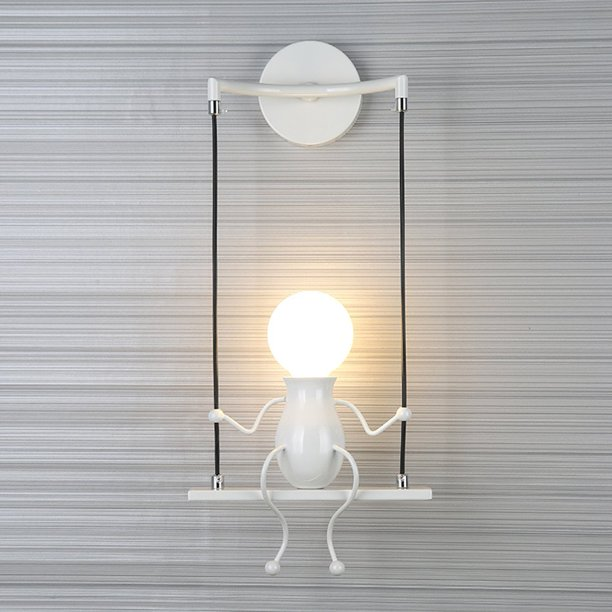 Southpo Led Wall Light Fixtures Creative Cartoon Little People Wall Sconces Lighting Indoor Bedroom Hallway Shop Modern Metal Bedside Lamp Decor Adjustable Wall Lamps Swing Arm 1 E26 Max 40w White Walmart Com