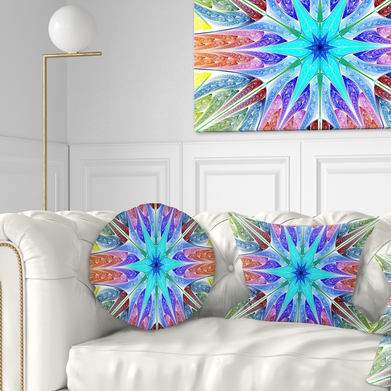 Design Art Designart Multi Color Pink Fractal Stained Glass Abstract Throw Pillow 20 Inches Round Large Walmart Com Walmart Com
