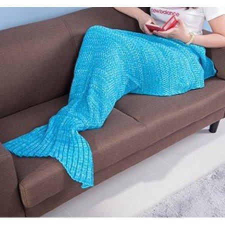 e-joy Mermaid Tail Crochet Knitting all Season Sleeping Bag Best Birthday Christmas Gift Handmade Living Room Sleeping Blanket, Light Blue for Adult 71x36