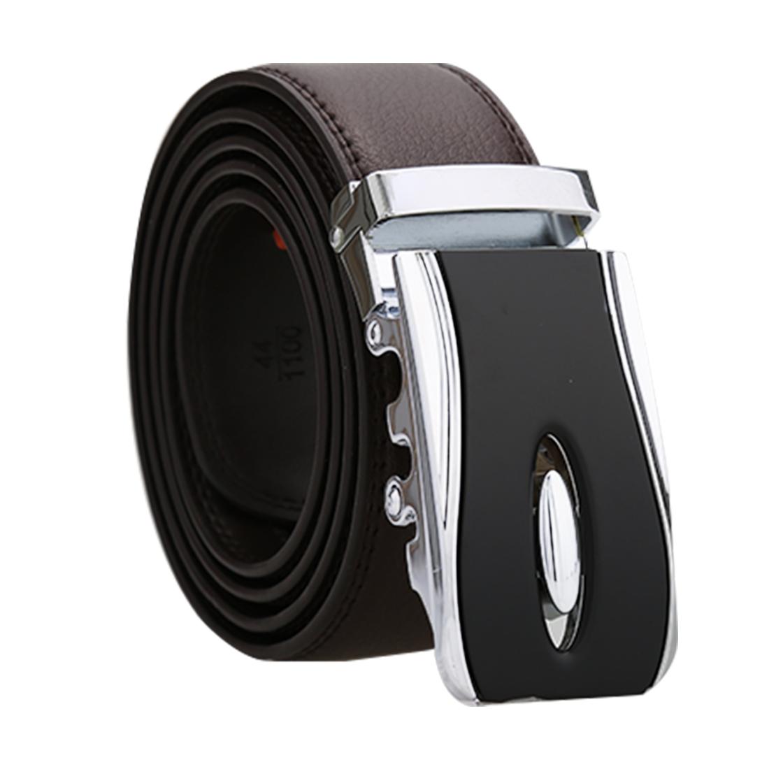 """Unique Bargains Men's Automatic Double Stitch Edge Leather Belt Width 1 1/2"""" Dark Brown 130cm - image 7 de 7"""