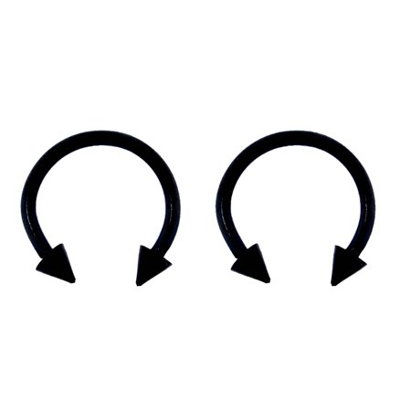 Titanium White Earrings - Lex & Lu Pair of Titanium Circular Barbell w/Cones Horseshoe Earrings 18-14G