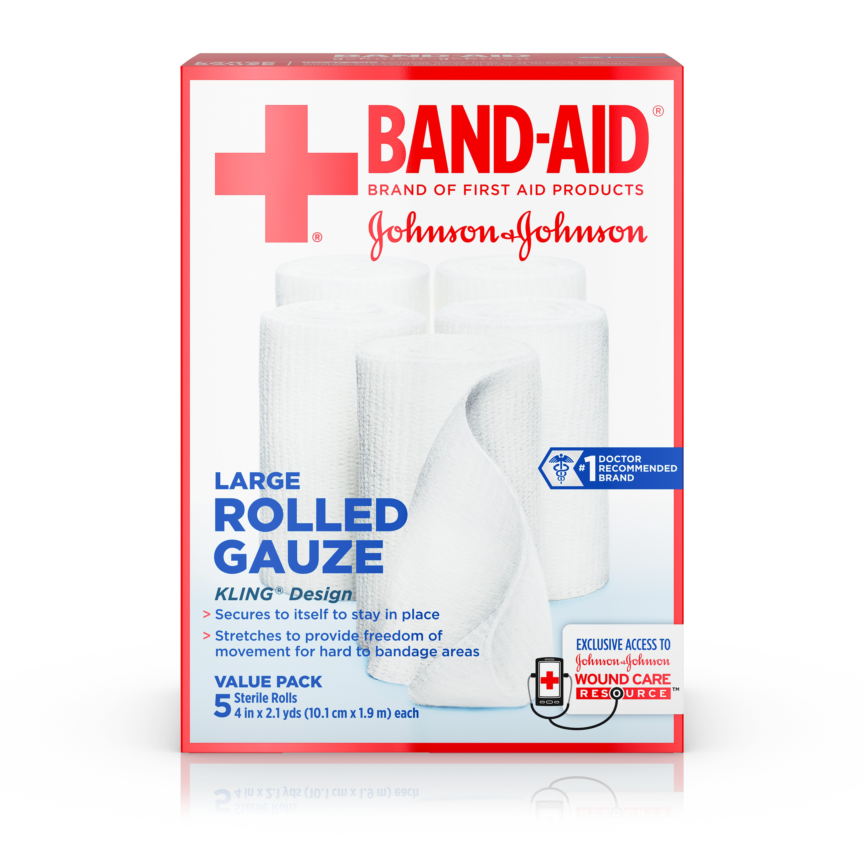 Band-Aid Brand of First Aid Products Rolled Gauze, Minor Wound Care, 4 Inches by 2.1 Yards, 5 Count Value Pack