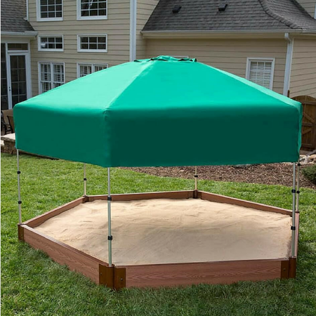 "Frame It All Tool-Free Classic Sienna 7ft. x 8ft. x 5.5 in. Composite Hexagon Sandbox Kit with Telescoping Canopy/Cover - 2"" profile"