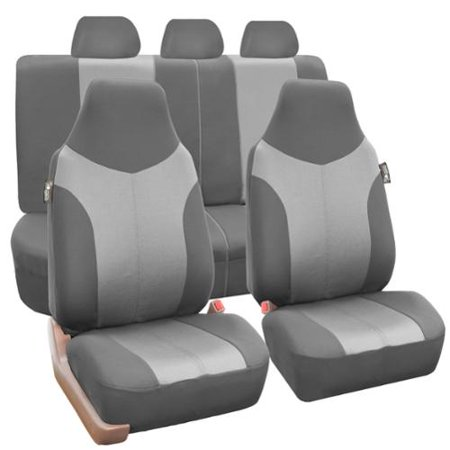 (FH Group  Grey Supreme Twill Fabric Auto Seat Covers (Full Set))