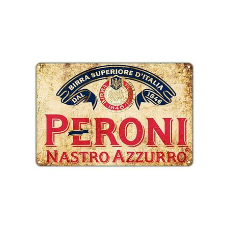 Peroni Nastro Azzurro Beer 1846 Vintage Wall Décor Art Metal Bar Pub Italia Brewery Aluminum 18