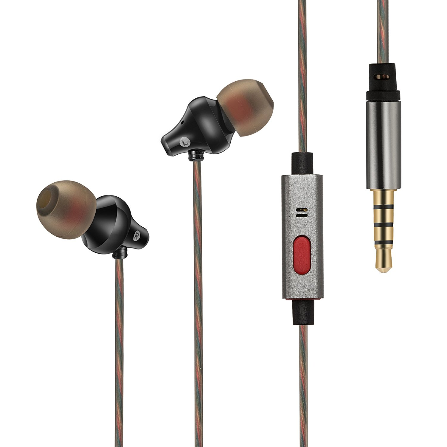 In Ear Noise Cancelling Headphones - Popwinds Wired Bass Stereo Earphones, HiFi 3.5mm Earbuds with microphone for Apple iPhone/Android/Laptop/Tablet/iPad