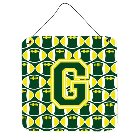 Letter G Football Green and Yellow Wall or Door Hanging Prints - Yellow Letter