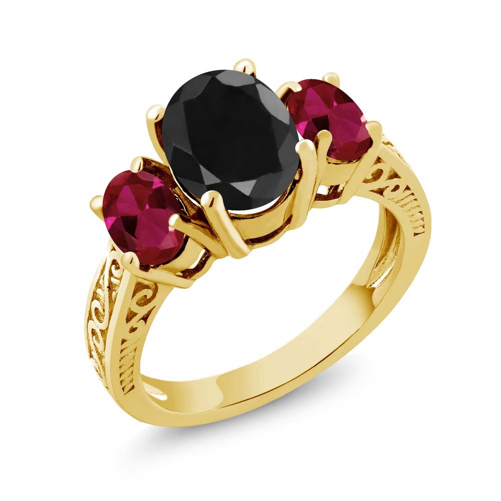 3.90 Ct Black Sapphire Red Created Ruby 925 Yellow Gold Plated Silver 3-Stone Ring