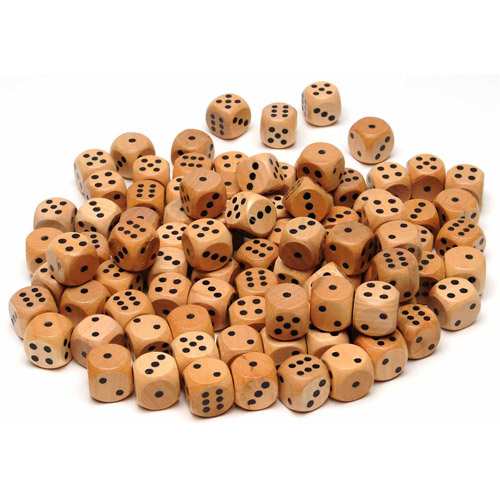 Wooden Dice with Rounded Corners, 100-Pack