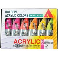Holbein Artist Heavy Body Acrylic Color, 60ml, Set 6-Color Luminous Set 60ml, Tubes