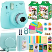 Fujifilm Instax Mini 9 Instant Camera + Fuji Instax Film (40 Sheets) + Accessories Bundle - Carrying Case, Color Filters, Photo Album, Assorted Frames, Selfie Lens + MORE (Ice Blue)