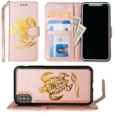 iPhone X Wallet Case, Slim PU Leather Embossed Design with Matching Detachable Flip Cover with Credit Card Holder Wristlet for Women [Sea Turtle - Rose Gold/Gold]