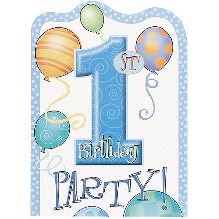 Blue First Birthday Invitations, 8pk
