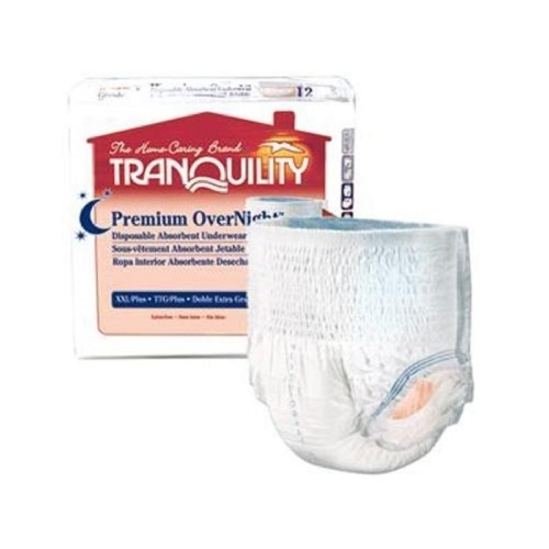 Tranquility Premium OverNight Underwear, XL,48-66 Inch,Max Absorbency-Case of 56