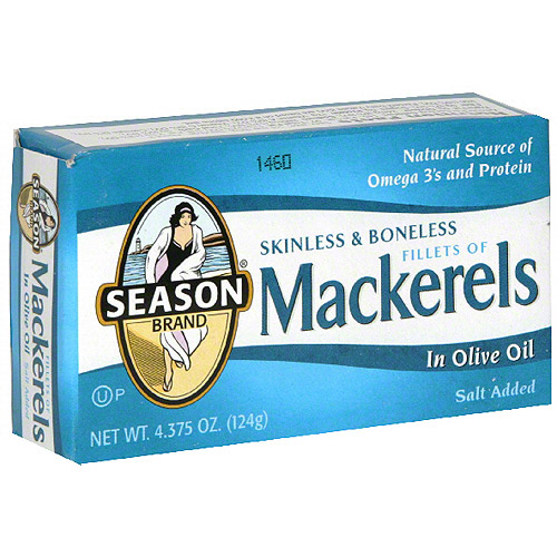 Season Skinless & Boneless Mackerel In Olive oil, 4.38 oz (Pack of 12)