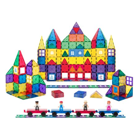 Best Choice Products 250-Piece Kids STEM 3D Magnetic Building Block Tile Toy Play Set w/ 4 Figures, Railroad Accessories