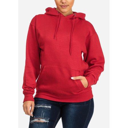 Womens Juniors Ladies Casual Cozy Warm Holiday Sport Long Sleeve Pullover Solid Red Hoodie Sweatshirt Sweater - Holiday Hoodie Set