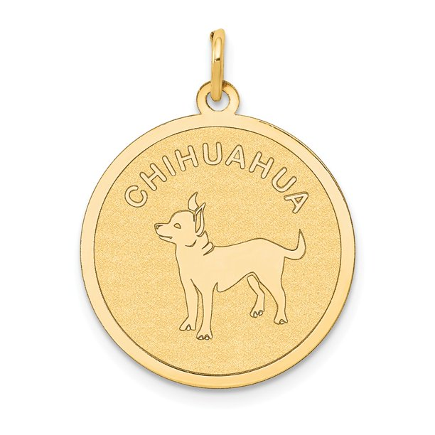 FB Jewels 14K Yellow Gold Chihuahua Disc Charm