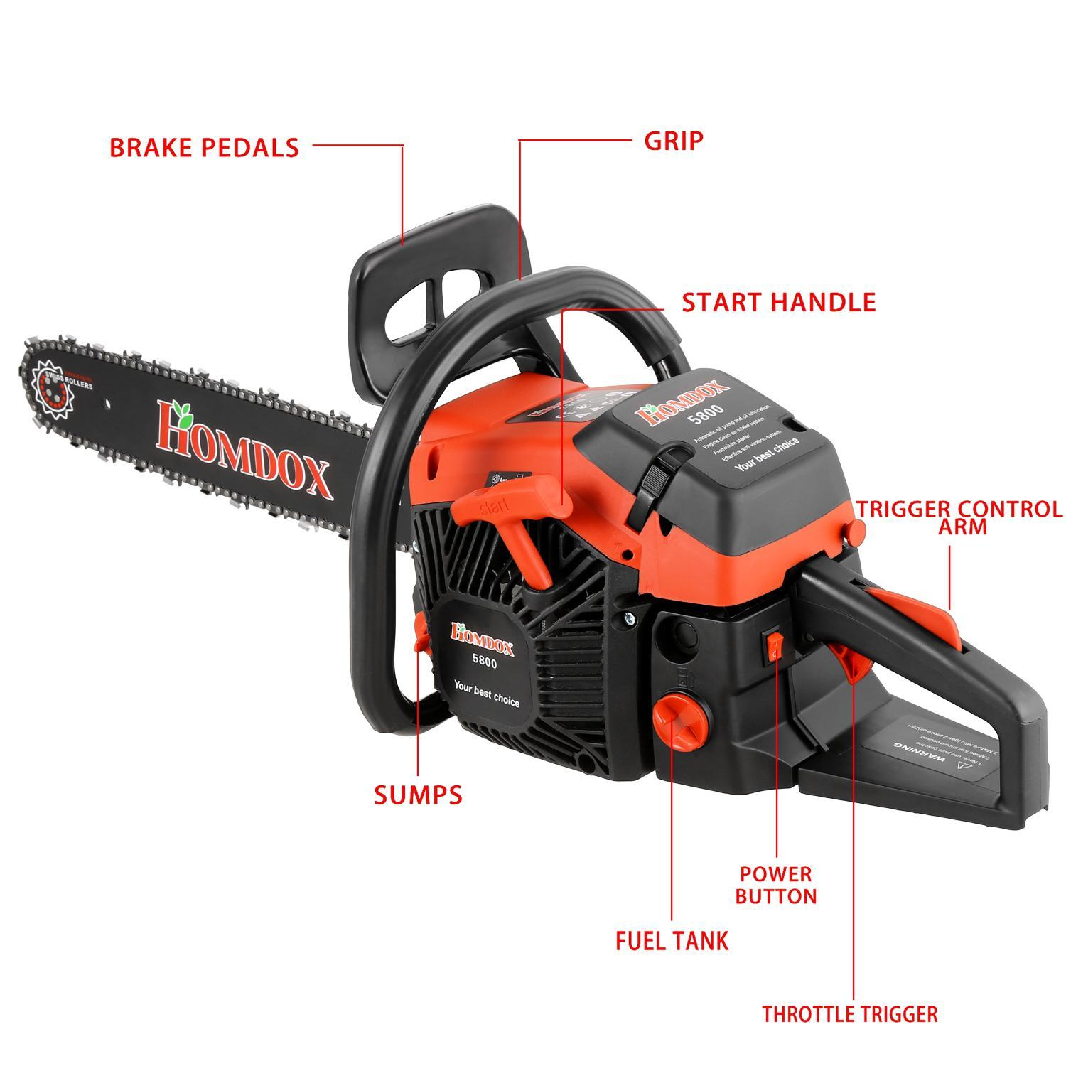 "20"" 58cc Gas Petrol Chainsaw Saw Blade With Chains, Bar Cover and Tool Kit Garden Home Use"