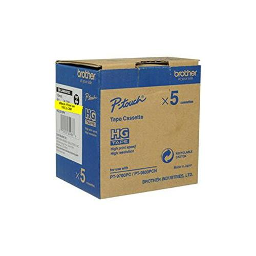 "Brother Hg641 Barcode Label - 0.71"" Width X 26.25 Ft Length - 5 Pack - Rectangle - Polyester - Thermal Transfer - Yellow (hg6415pk_2)"