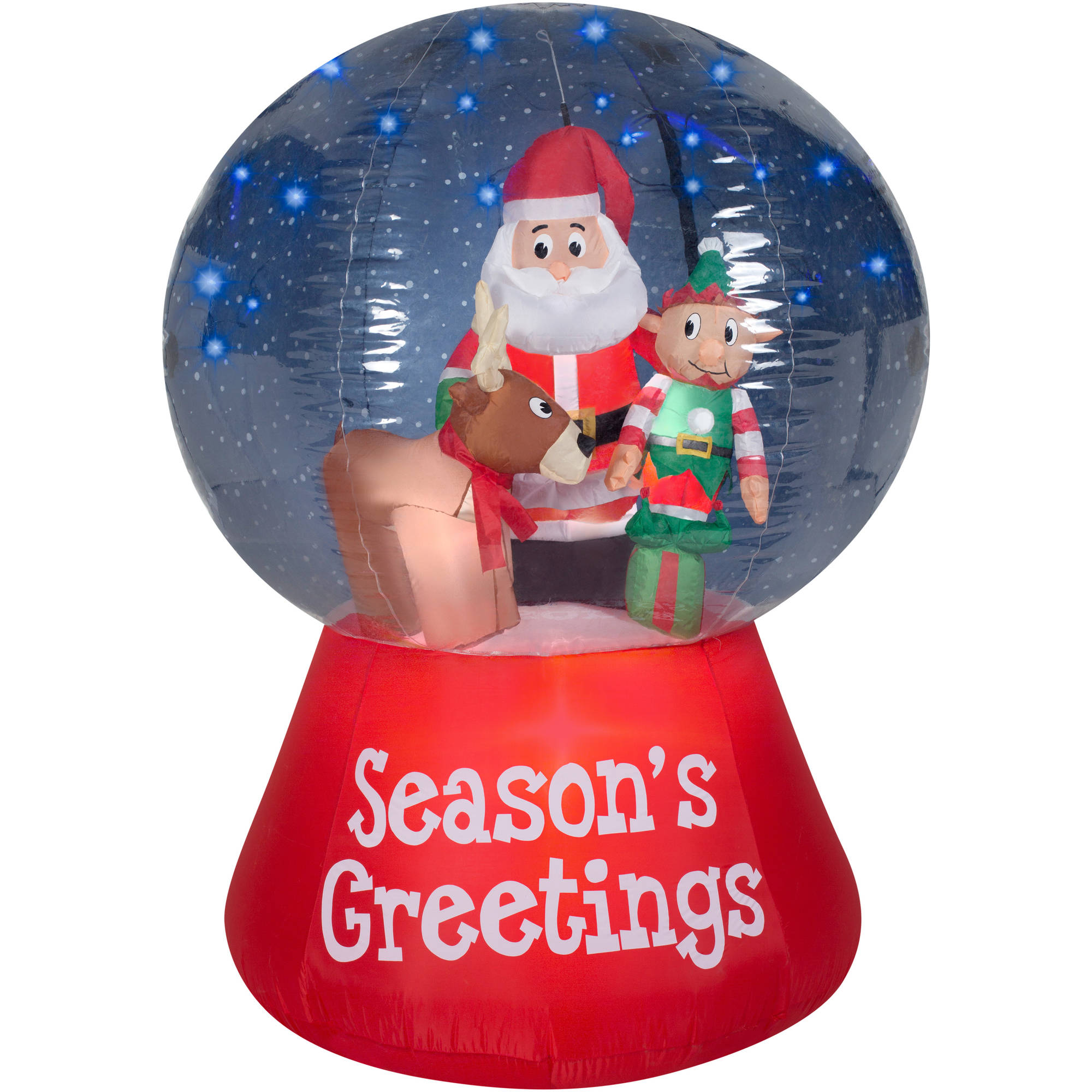 gemmy airblown inflatables christmas inflatable snowglobe with glimmer led santa scene 55 walmartcom - Inflatable Outdoor Christmas Decorations