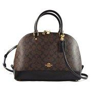 coach sierra satchel signature coated canvas handbag brown  black by