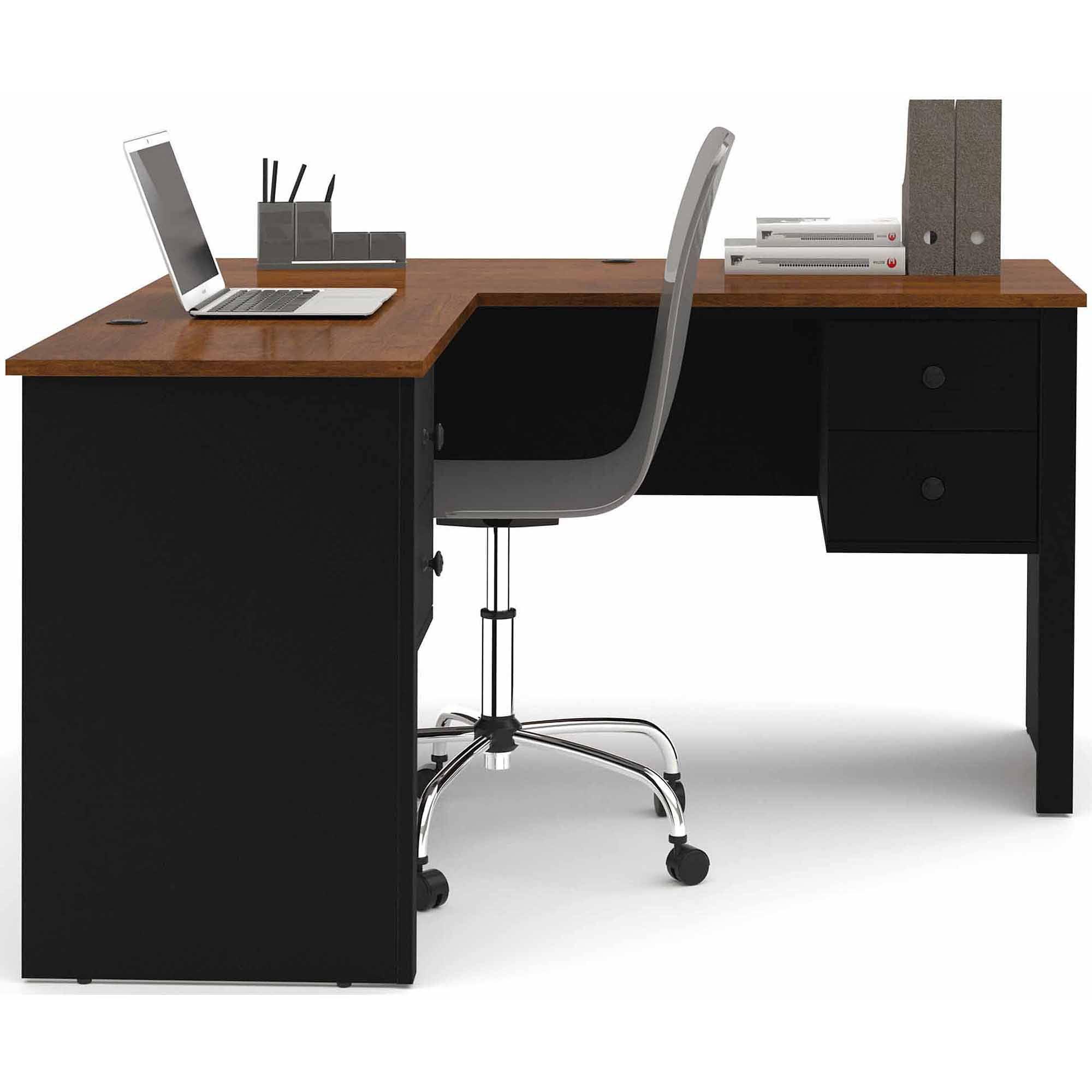 Bestar Somerville L-Shaped Desk, Tuscany Brown/Black