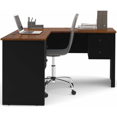 Bestar Somerville L-Shaped Desk, Tuscany Brown/Black - Walmart.com