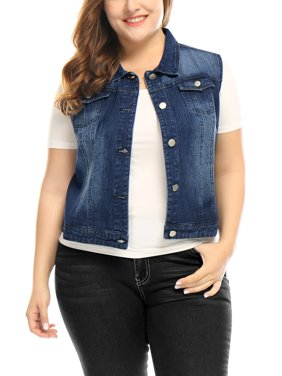 9f1c64a8b0d Product Image Women s Plus Size Chest Pockets Single Breasted Sleeveless  Denim Vest Coat