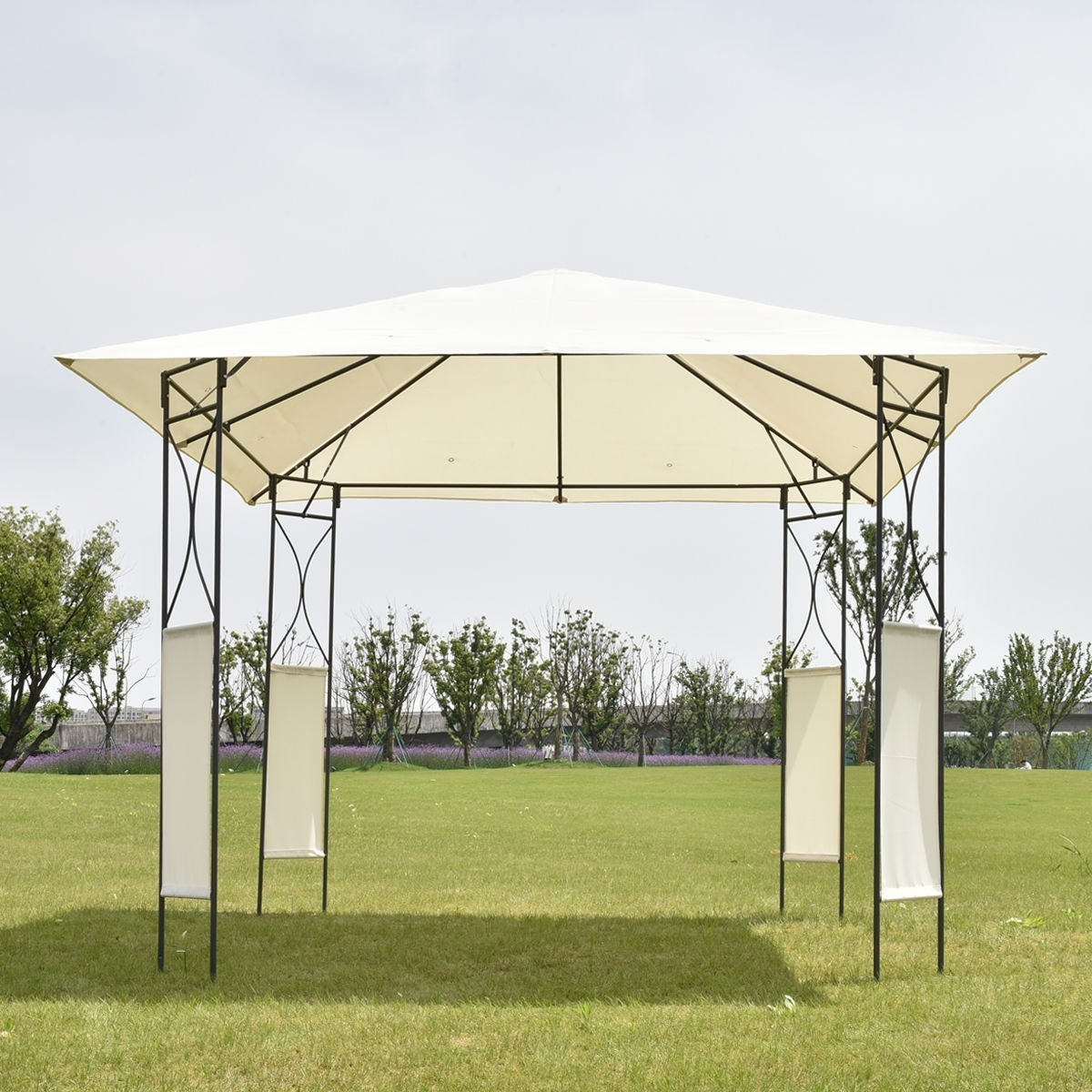 New MTN-G MTN-G 10'x10' Square Gazebo Canopy Tent Shelter Awning Garden Patio W Beige Cover by MTN Gearsmith