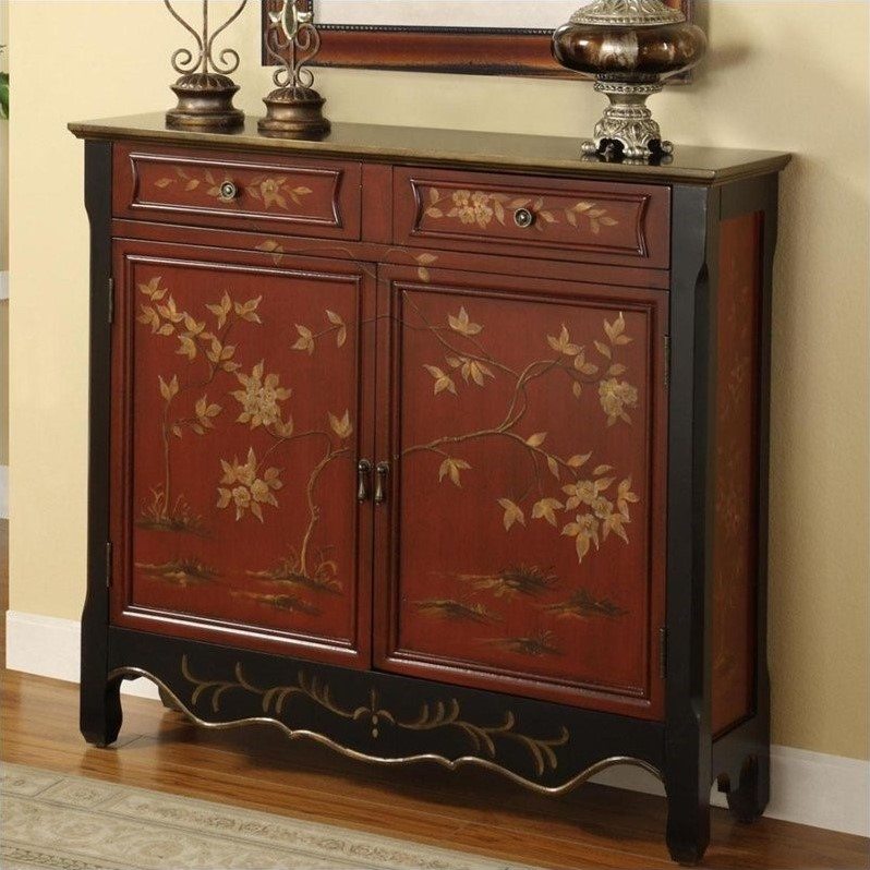 Powell Asian Influenced 2 Door Console, Red