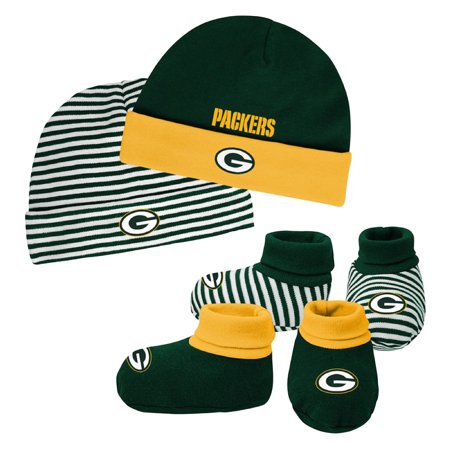 Newborn & Infant Green/Gold Green Bay Packers Cuffed Knit Hat & Booties Set - - Green Bay Packers Gifts