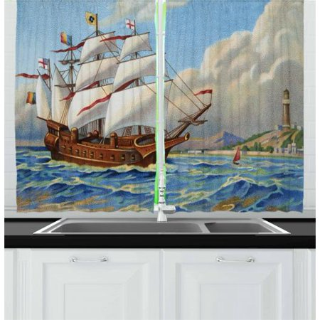 Vintage Boat Curtains 2 Panels Set, Ancient Ship Sailing Historical Theme Wavy Sea Coastal Painting Vintage Print, Window Drapes for Living Room Bedroom, 55W X 39L Inches, Multicolor, by Ambesonne (Boat Curtains)