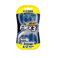 BIC Flex 3 Men's Disposable Razor, 6 Pack