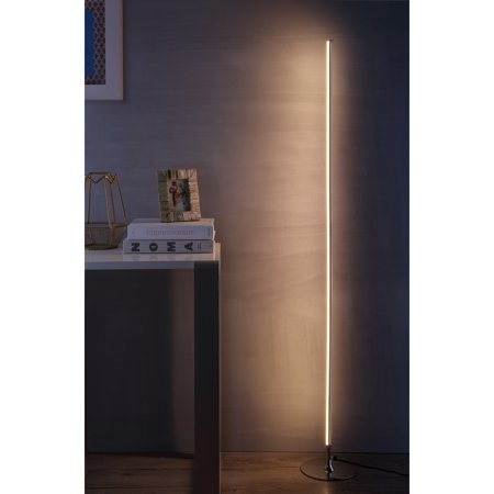 "Iris 59.5"" LED Integrated Floor Lamp, Chrome by JONATHAN Y"