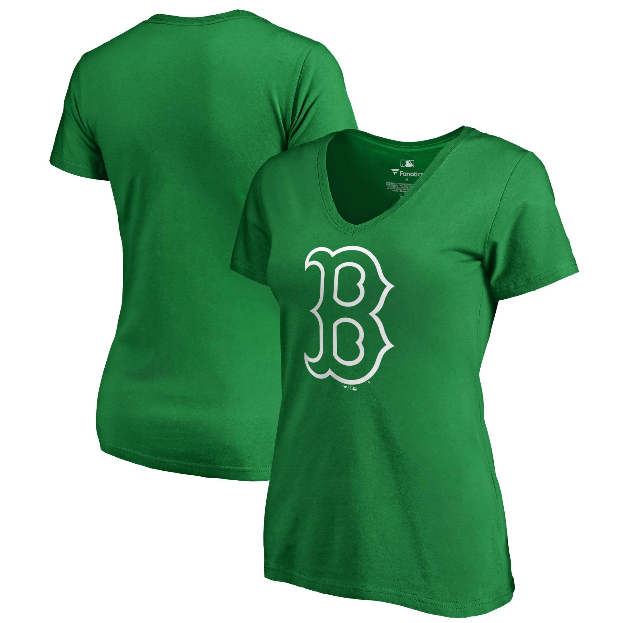 Boston Red Sox Fanatics Branded Women's St. Patrick's Day White Logo Plus Size V-Neck T-Shirt - Kelly Green