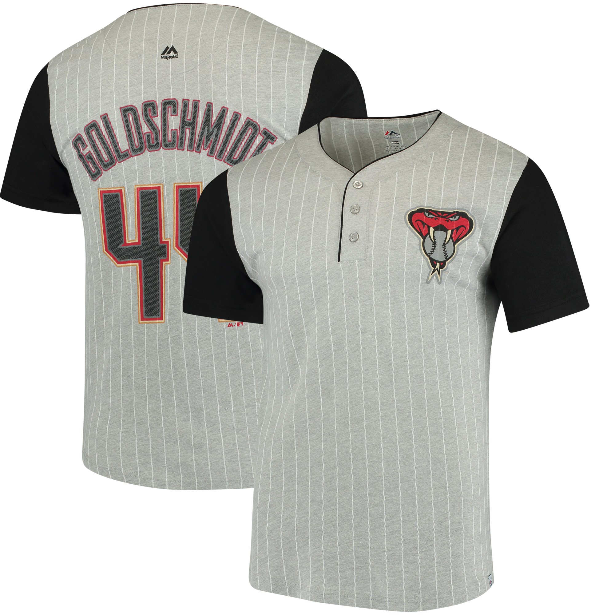 Paul Goldschmidt Arizona Diamondbacks Majestic From the Stretch Pinstripe T-Shirt - Gray/Black