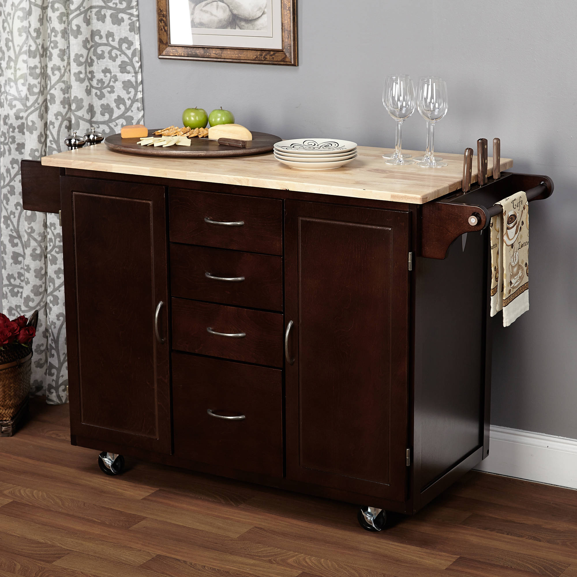 Homegear Open Storage Kitchen Storage Cart Island with Rubberwood ...