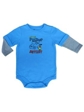 ae00b0be9 Product Image Infant Boys Little Pickup Artist Blue Creeper Long Sleeved  Bodysuit 3m