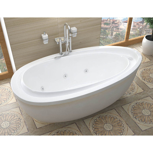 Spa Escapes Capricia 71'' x 38.37'' Oval Freestanding Whirlpool Jetted Bathtub with Reversible Drain