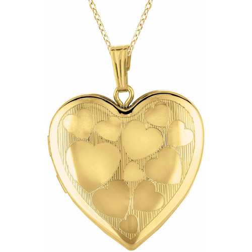 Yellow Gold-Plated Sterling Silver Heart-Shaped with Hearts Locket by Generic
