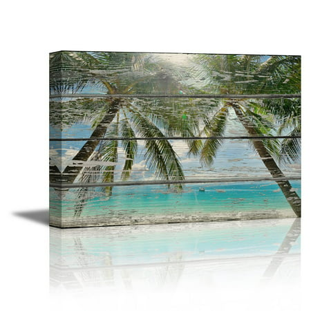 wall26 Canvas Prints Wall Art - Tropical Beach with Palm Trees on Vintage Wood Background Rustic Home Decoration - 24