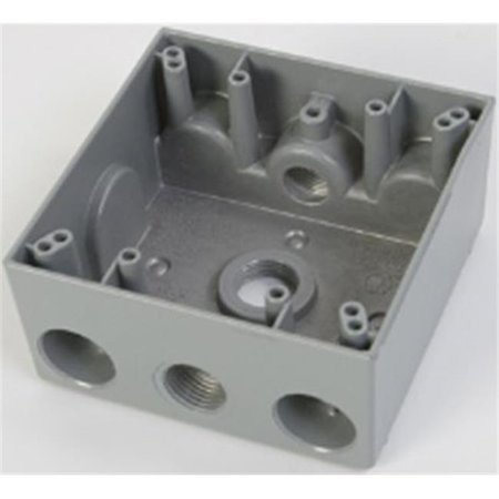 Greenfield B232WS 2 Gang Weatherproof Electrical Outlet Box with Three 0.5 in. Holes, - Weatherproof Two Gang Outlet Box