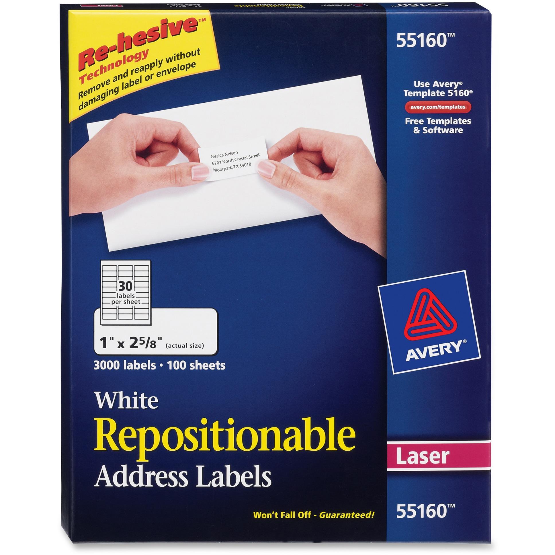Avery Repositionable Address Labels, Inkjet/Laser, 1 x 2 5/8, White, 3000/Box