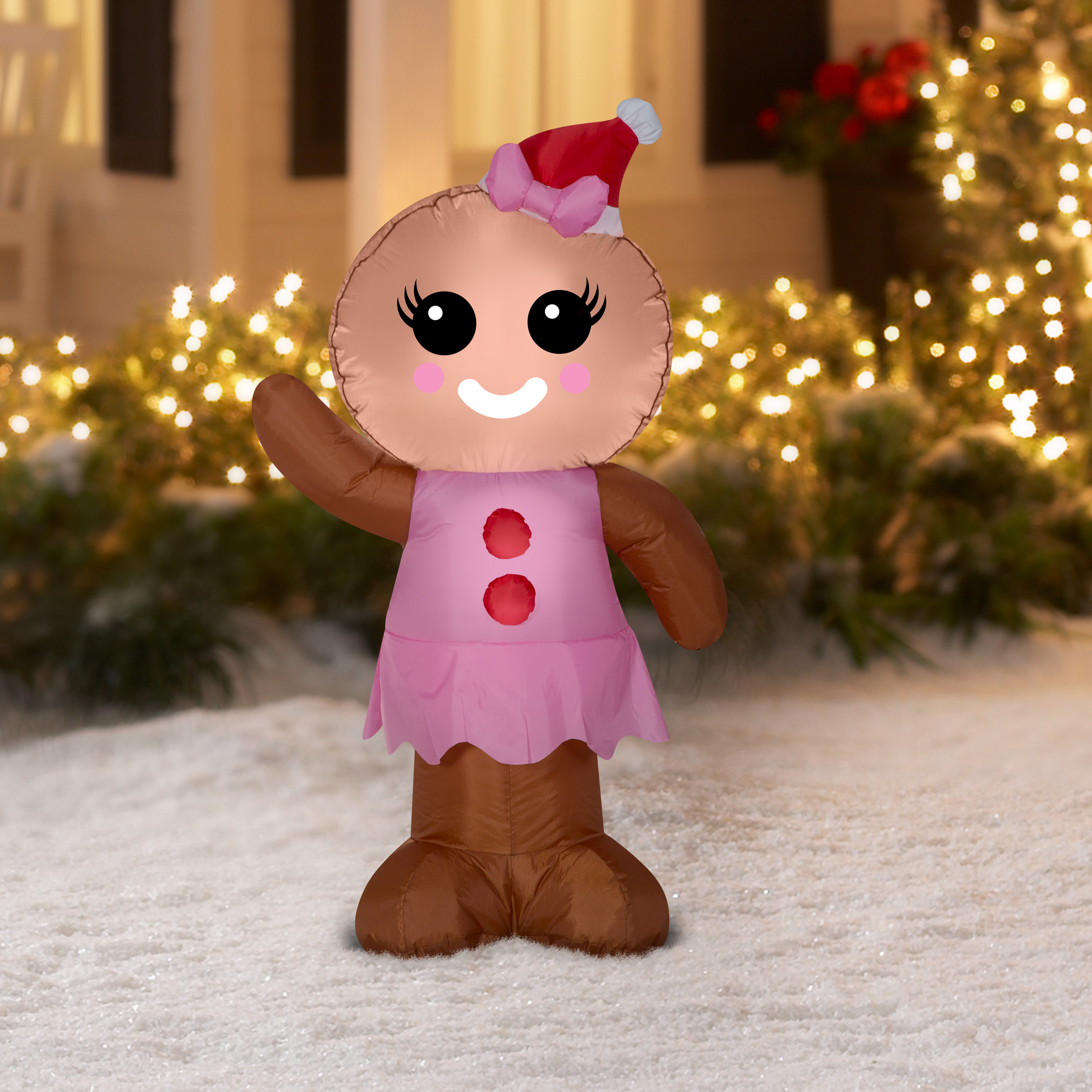 inflatable gingerbread woman 4 ft pink christmas decoration indoor outdoor - Gingerbread Outdoor Christmas Decorations