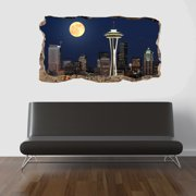 Startonight 3D Mural Wall Art Photo Decor Window Moon on the City Amazing Dual View Surprise Large 47.24 By 86.61 inch Wall Mural Wallpaper Bedroom Urban Collection Wall Paper Art