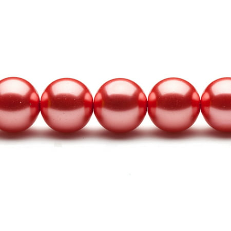 16mm Brick Red Round Glass Pearl 26-Bead Count 16mm Mabe Pearl
